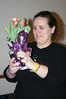 Kim Demings with Easter tulip